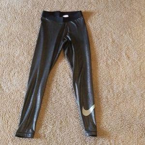 Nike Pro liquid leggings black w silver glitter